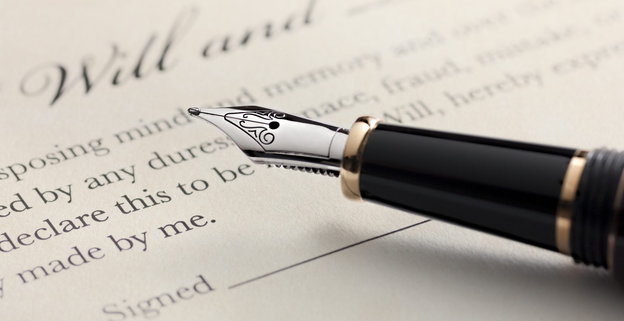 Pen on Last Will and Testament